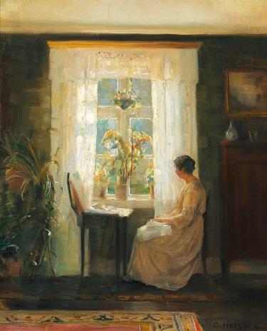 Holsoe woman at sunny window