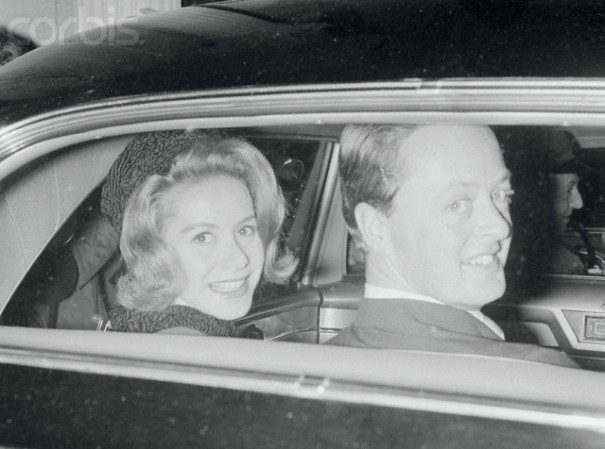 23 Oct 1961, Paris, France --- Original caption: Radiant smiles light the faces of Tina Livanos and her new husband, the Marquess of Blandford, as they ride away after a civil marriage ceremony at the town hall of the 8th Paris city district. Tina, 31, is the divorced former wife of Greek shipping magnate Aristotle Onassis. The Marquess was once a regular escort for Britain's princess Margaret. --- Image by © Bettmann/CORBIS